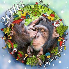 Новогодние открытки и картинки для Нового 2016 года - года Обезьяны / Статьи