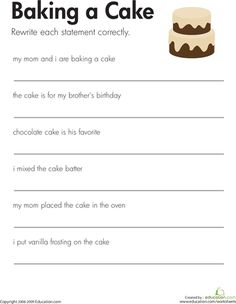 91 best worksheets images on pinterest learning english english fix the sentences baking a cake punctuation worksheetswriting ibookread Download