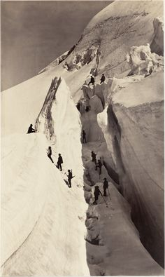 Bisson Brothers (Louis-Auguste and Auguste-Rosalin Bisson), The crevasse (climbing the Mont-Blanc), 1861 (Source: Bibliothèque nationale de France) One of the most impressive photos I've ever seen. Mountain Climbing, Rock Climbing, Alpine Climbing, Chamonix Mont Blanc, Escalade, Rando, History Of Photography, Mountain Photography, Cthulhu