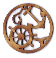 Ship wheel and anchor Christmas ornament or year-round decorations. Nautical decor.