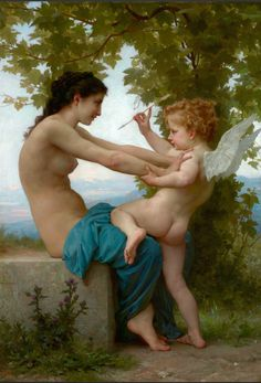 """A Young Girl Defending Herself Against Eros"", 1880, William Adolphe Bouguereau"