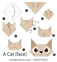 fácil crianças step by step instructions how to make origami A Cat. step by step instructions how to make origami A Cat. Gato Origami, Instruções Origami, Origami Simple, Origami Ball, Origami Bookmark, How To Make Origami, Paper Crafts Origami, Useful Origami, Origami Stars