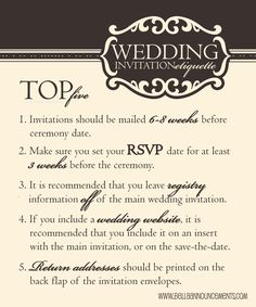 wedding etiquette, top five wedding etiquette
