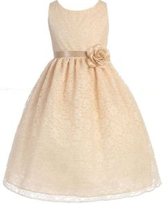 Little Girls Adorable Lace Overlay Spring Summer Flowers Girls Dresses champagne