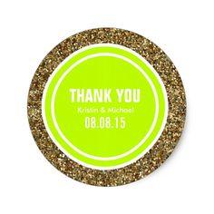 Gold Glitter Green Yellow Custom Thank You Label Classic Round Sticker