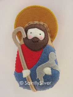 Handmade Felt Saint Softies - Pictured in the NY Times by SaintlySilver Nativity Ornaments, Felt Christmas Ornaments, Christmas Nativity, Felt Crafts, Holiday Crafts, Felted Wool Crafts, Hand Work Embroidery, Felt Decorations, Felt Patterns
