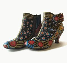 Hand Painted Short Boots Size 7-1/2 M with 3 Heel by itzaChicThing