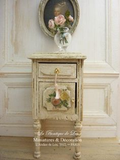Bedside Shabby chic - French dollhouse furniture, 1/12th scale. €39.00, via Etsy.