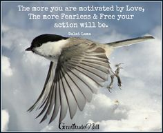 The more you are motivated by love, the more fearless and free your action will be.  ~ Dalai Lama ♥