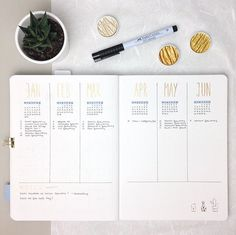 You know this spread probably from the last year. It's nearly the same for 2017, because I am so happy with it. Every month and week I check the appointments I collect to transfer them into the monthly and weekly layouts. So I think I can say that this is my most used and important layout in my Bullet Journal . Let me know what you are thinking about the combination of the shimmery gold and the light blue. I am absolutely in love . Have a nice and cozy Sunday evening guys . #bulletjour...