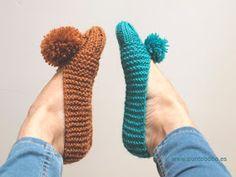 PUNTOBOBO Agujas de madera artesanales para tejer: Patrón de zapatillas de punto con pompón