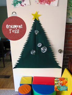 Ornament Toss from The Artful Child  Felt Tree + Velcro covered Ornaments= FUN!!