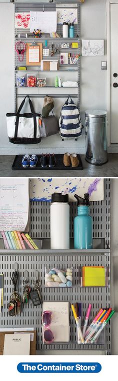 Make mornings easier! Create a drop zone anywhere with our elfa Utility Boards. We've used Bins, Shelves and Hooks to organize everything from keys and sunglasses to pens and notepads. Hooks hold shopping bags and backpacks, helping everyone get out the door with exactly what they need.