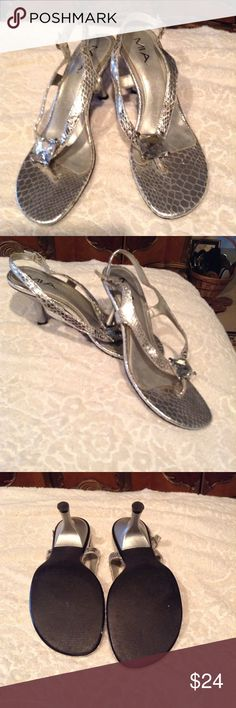 """MIA Snake Print Silver Sandals Beautiful silver snake print high-heeled sandals with huge jeweled embellishment on front of sandal, silver leather insoles, 2-3/4"""" heel, like new, worn twice. MIA Shoes Sandals"""