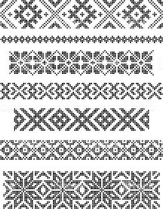 Discover thousands of images about Set Of Borders, Embroidery Cross, Vector Royalty Free Cliparts, Vectors, And Stock Illustration. Cross Stitch Borders, Simple Cross Stitch, Cross Stitch Designs, Cross Stitching, Cross Stitch Patterns, Fair Isle Knitting Patterns, Knitting Charts, Loom Patterns, Beading Patterns
