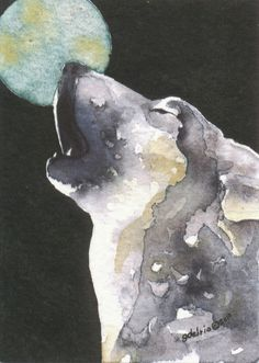 Wolves howl as a form of communication with each other. They are probably not actually howling at the moon. These magnificant animals are fighting humans for their very existence as a species. Watercolor Animals, Watercolor Print, Gouache, Wolf Totem, Art Mat, Arches Watercolor Paper, Howl At The Moon, Thing 1, Wolf Howling