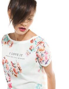Bershka México - Camiseta Bershka flores y rayas