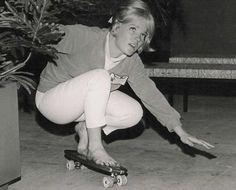 sidewalk surfin on a early 60s hobie skateboard