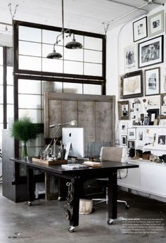 Home office # dark wood industrial white walls