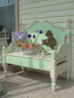 Sweet RESERVED Vintage Bench For A Cottage Porch Chic by rustyrosepetals, What makes this so cute is the little girl watering the flowers Bed Frame Bench, Headboard Benches, Benches From Headboards, Furniture Projects, Furniture Makeover, Diy Furniture, Handmade Furniture, Furniture Design, Repurposed Furniture