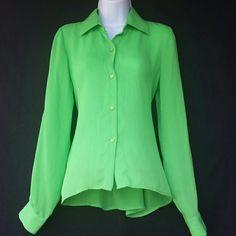 Lime green button up top Lime green button up top size So but runs a little big Tops Button Down Shirts