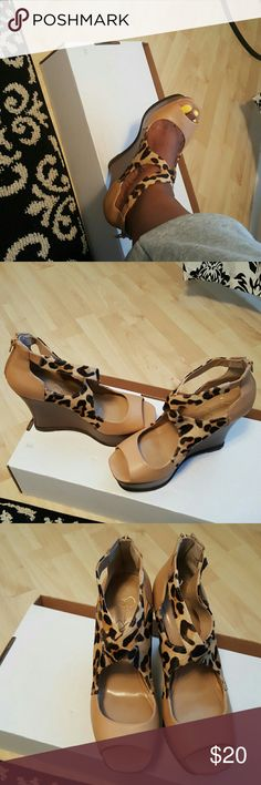 Jessica Simpson Platformed Shoes Gorgeous Wedge Strappy Jessica Simpson Animal Print Shoe Jessica Simpson Shoes Platforms