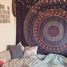 The Eberlee Large Hippie Tapestry Mandala Bohemian Elephant Bedspread Throw - GoGetGlam - 3