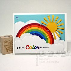 You Color My World Rainbow Sun Clouds Fancy Greeting by JanTink