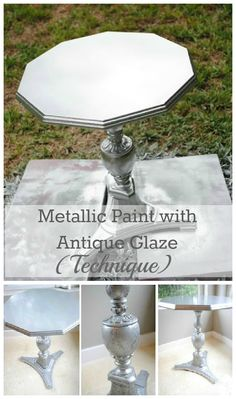 Guest Post- Metallic paint with antique glaze finish - Craftionary Painting Furniture, Furniture Redo, Furniture Ideas, Handmade Furniture, Unique Furniture, Furniture Making, Repurposed Furniture, Diy Painting, Bedroom Furniture