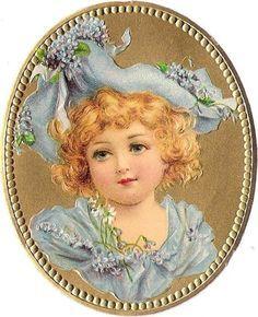 Oblaten Glanzbild scrap die cut chromo Kind child head Portrait Medaillon gold