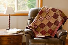 Primitive Dark Red Throw Quilt Tea Stained