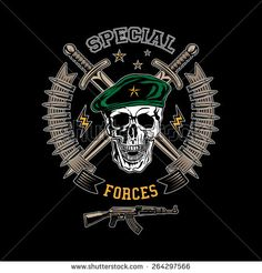 Special forces colored vector emblem with skull, daggers and gun. - stock vector