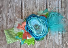 Fancy Pants boutique couture #headband-photo prop-special events-girls headband-sizes newborn to adult -Aqua, Green and Coral- Wedding accessories, photos #Persnickety Made by #MckenzieGraceDesigns #Etsy $26.99