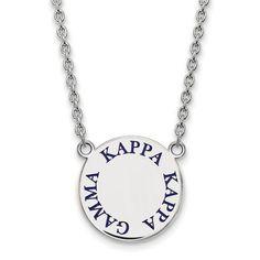 Zales Black Enamel Alpha Delta Pi Sorority Necklace in Sterling Silver D3KGU14s8p