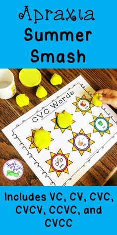 Target Apraxia of Speech during your summer speech therapy sessions with these adorable smash mats! Say a word then smash with a Play-Doh sun! These smash mats can also be used to target articulation/phonological delays.