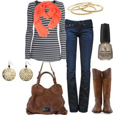 "navy striped shirt, orange scarf, stella and dot earrings | ""outfit"" by ohsnapitsalycia on Polyvore"