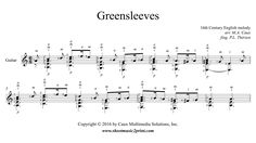 (Anonymous): Greensleeves Sheet Music for: Guitar Includes: One solo score pages) Price: USD Guitar Sheet, Sheet Music, Savage, Soloing, Charms, Breast, Weddings, Guitar, Bodas