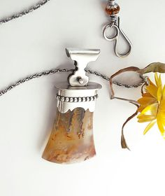 Plume Agate Necklace, Plume Agate and Silver Necklace, Plume Agate and Sterling Silver Pendulum Necklace