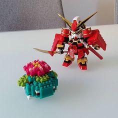 Welcome to the family, Samurai SD #Gundam and #nanoblock #bulbasaur! #sdgundam #plasticmodels #thanksgivingweekend #homedecor #cutethings #pokemon #fromjapan