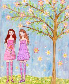 A Lovely Day Whimsical Folk Art Mixed Media Girls Painting by Sascalia by sascalia, via Flickr