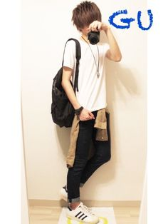 白T×スキニーデニム×シャツ 腰に巻いてるシャツがGUで590円だったので買っときました☺️ 【サイ