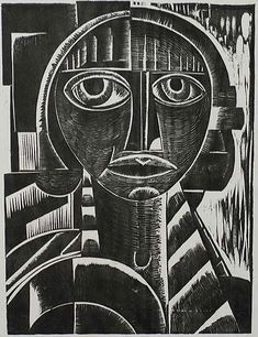 'Portrait' (c.1923) by Belgian artist & printmaker Floris Jespers (1889-1965). Woodcut, very small edition, 10.625 x 8 in. via William P. Carl Fine Prints