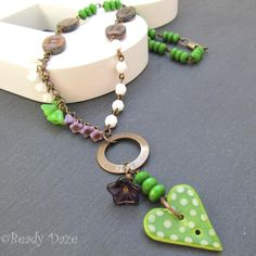 Gratitude Daze necklace Czech bead Vintaj brass £19.50 by beady daze
