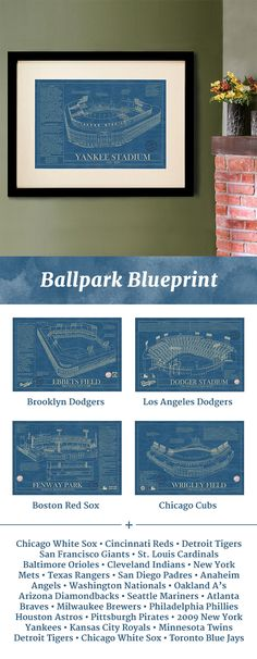 Designed in the style of vintage baseball stadium blueprints, these art prints celebrate some of America's greatest ballparks. San Diego Padres, Washington Nationals, Cincinnati Reds, San Francisco Giants, Beautiful Family, Basement Remodeling, Unique Gifts, Crafty, Cool Stuff