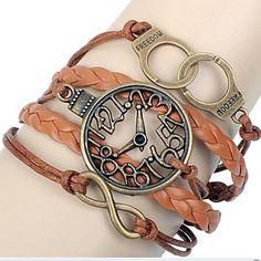 Fashion 6cm Unisex Brown Leather Wrap Bracelet(Brown)(1 Pc)  – USD $ 2.25