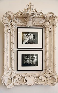 Why not mix old with new and place modern frames within an old vintage or antique looking frame?