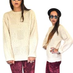 HOLA VINTAGE 80s Hipster Cable Knit Sweater  by HolaVintageShop, $45.00