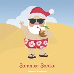 Santa claus on the beach, summer christmas Vector Aussie Christmas, Summer Christmas, Merry Christmas, Xmas, Vector Christmas, Tropical Christmas, Christmas Themed Cake, Christmas Themes, Christmas Decorations