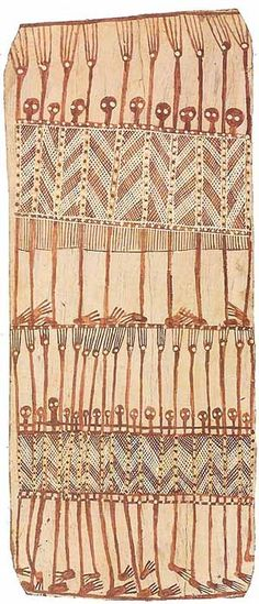 Bark painting, an Australian aboriginal art form, involves painting on the interior of a strip of tree bark. Traditionally, bark paintings were produced for instruction and ceremonial purposes and were transient objects. Today, they are keenly sought by collectors and public arts institutions