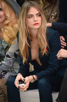 "Cara Delevingne in an open front blue suit with no bra, British Fashion Awards ""model of the Year,"" star of Suicide Squad as the Enchantress, Valerian, a modern classic beauty. Delevigne Cara, Cara Delevingne Hair Color, Modelos Fashion, Celebs, Celebrities, Mode Inspiration, Woman Crush, Look Fashion, Girl Crushes"